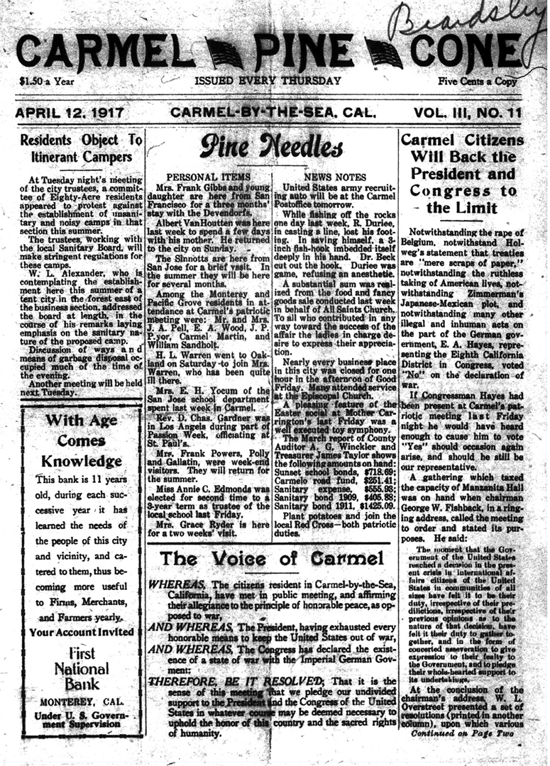 front page of the                 April 12, 1917, Carmel Pine Cone