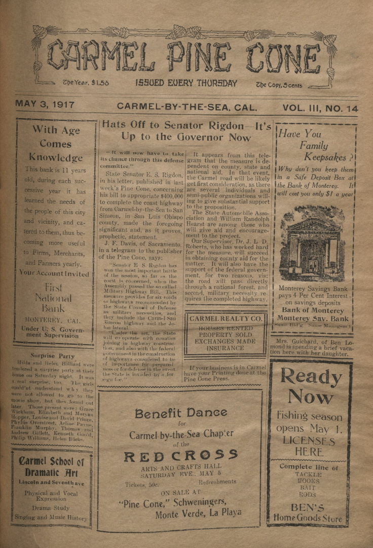 front page of the May                 3, 1917, Carmel Pine Cone