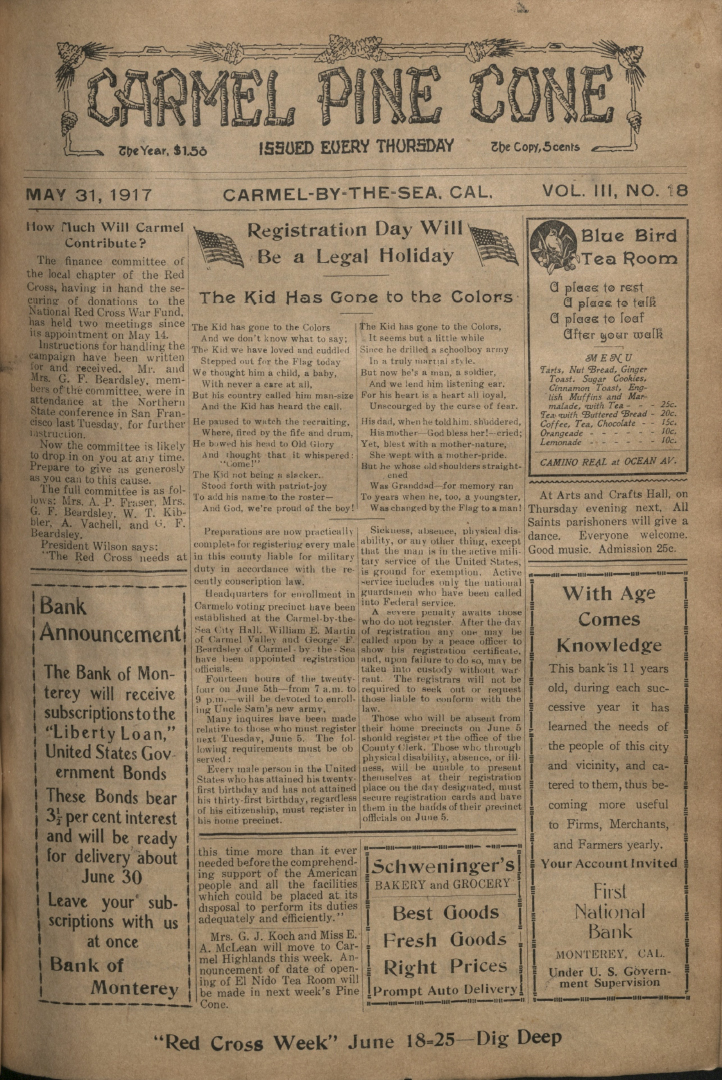 front page of the May                 31, 1917, Carmel Pine Cone