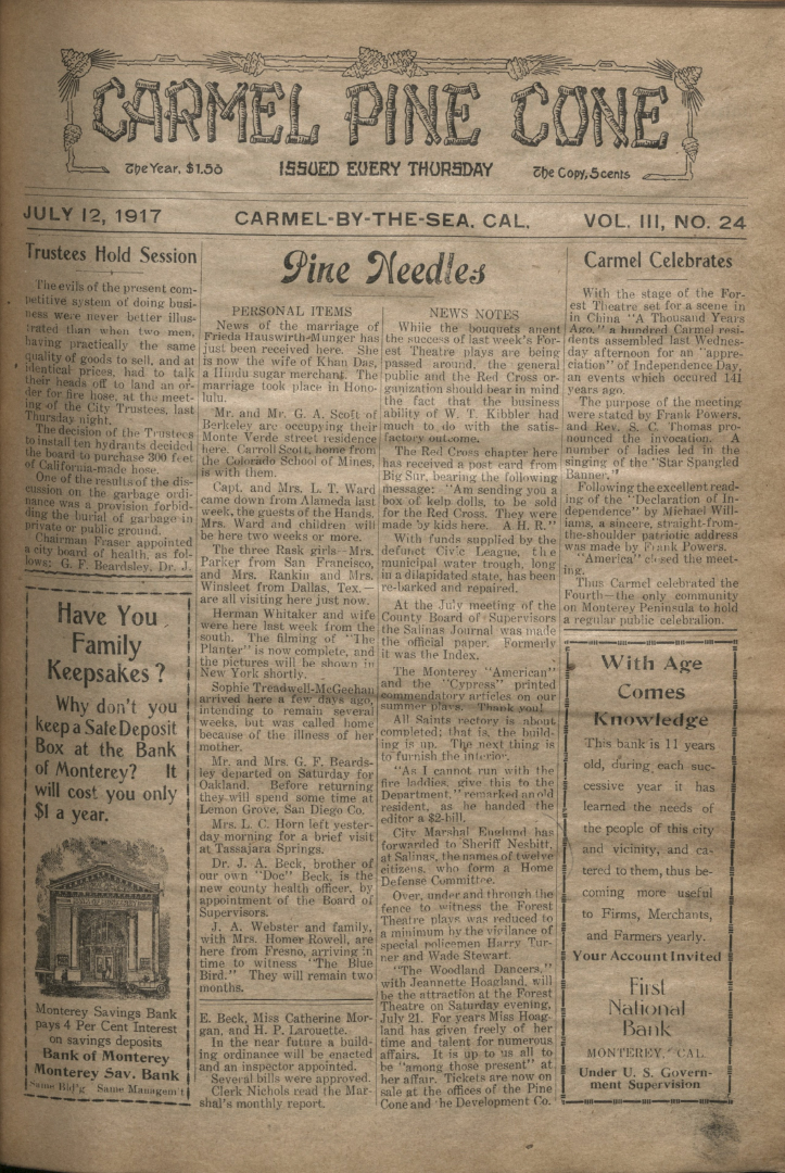 front page of the                 July 12, 1917, Carmel Pine Cone