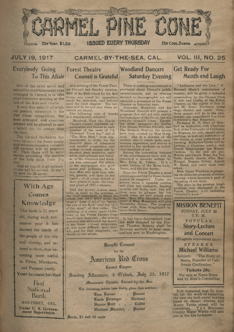 front page of the                 July 19, 1917, Carmel Pine Cone