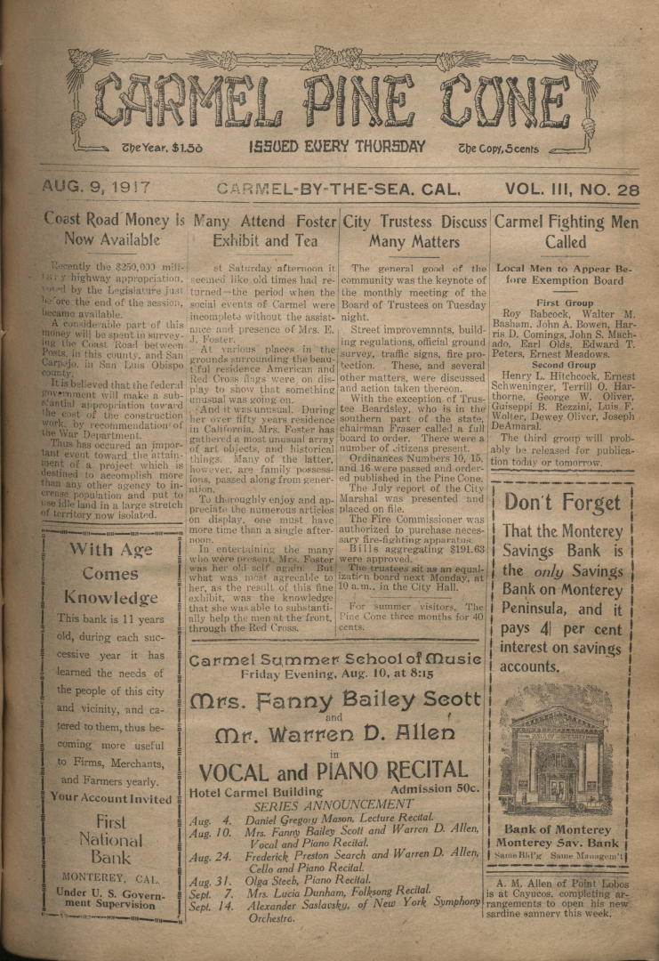 front page of the                 August 9, 1917, Carmel Pine Cone