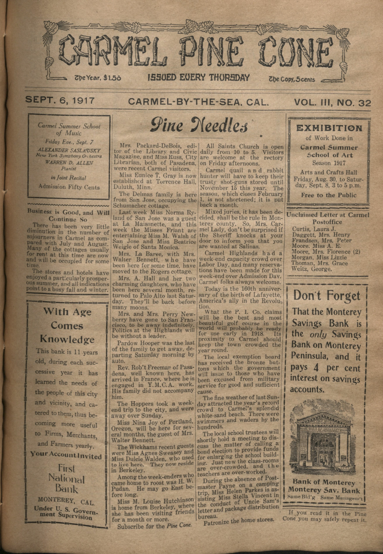 Front page of the                 September 6, 1917, Carmel Pine Cone