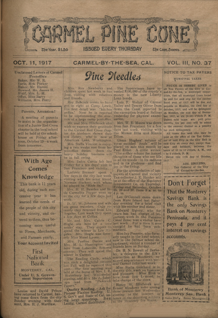 front page of the                 October 11, 1917, Carmel Pine Cone