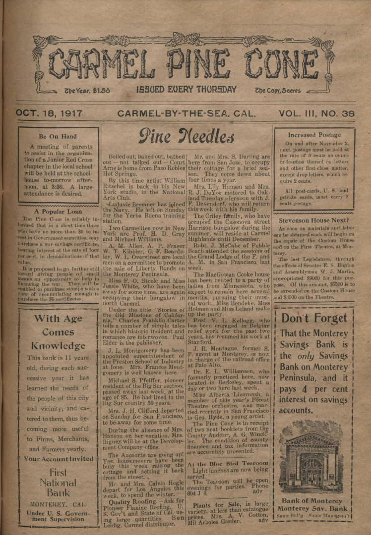 front page of the                 October 18, 1917, Carmel Pine Cone