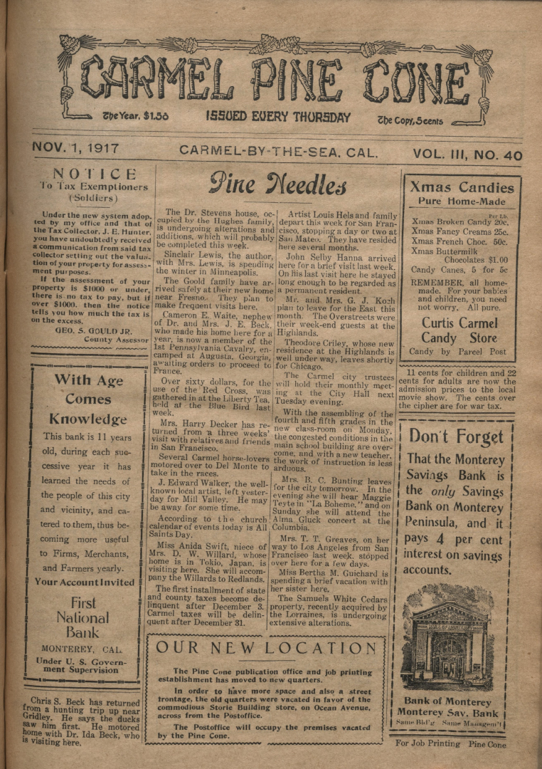 front page of the                 November 1, 1917, Carmel Pine Cone
