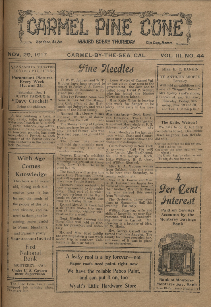 front page of the                 November 29, 1917, Carmel Pine Cone