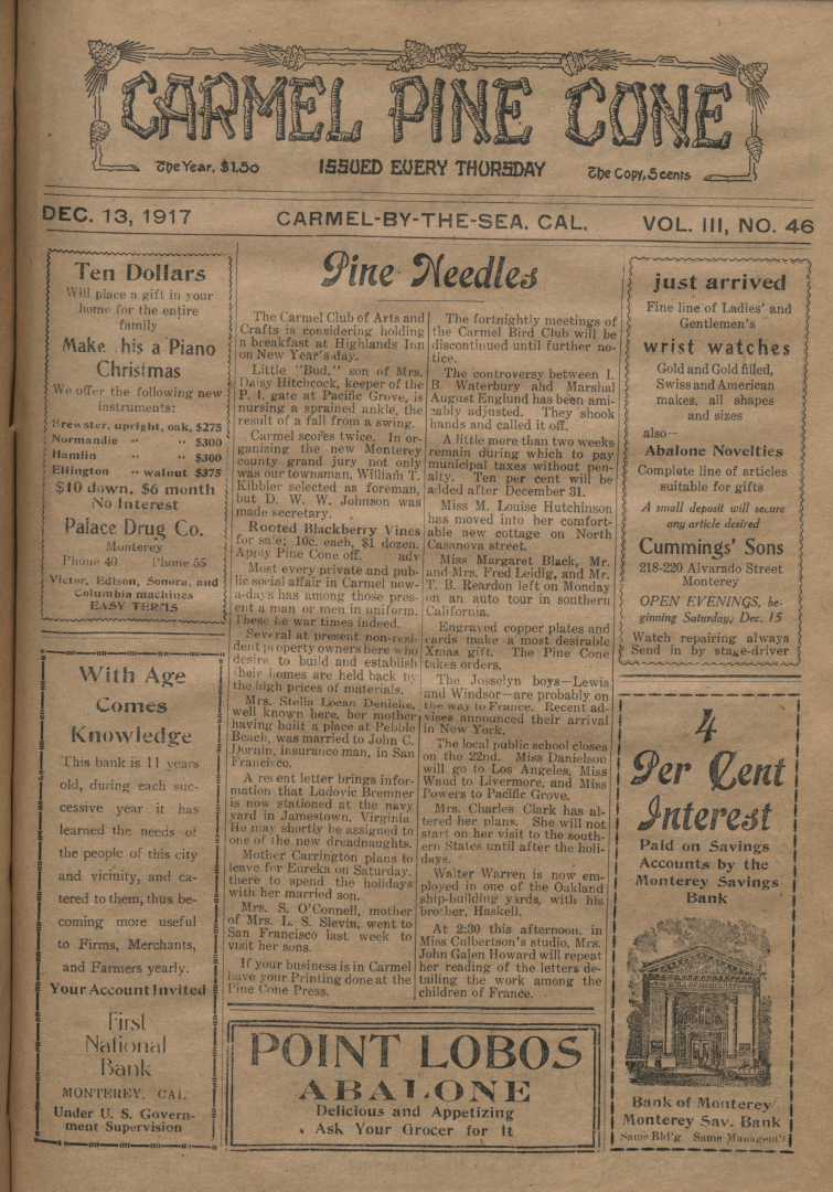 Front page of the                 December 13, 1917, Carmel Pine Cone