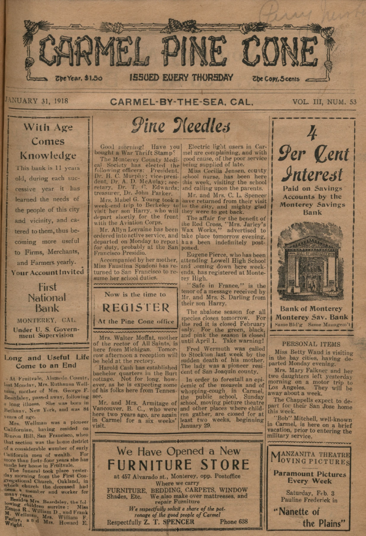 front page of the                 January 31, 1918, Carmel Pine Cone