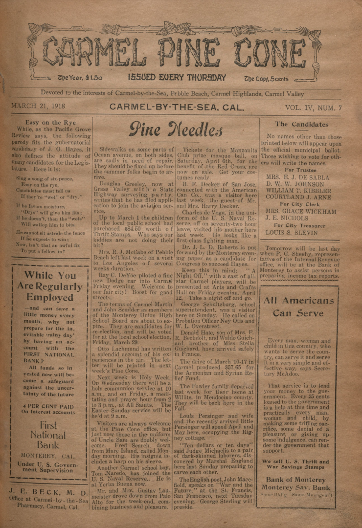 front page of the                 March 21, 1918, Carmel Pine Cone