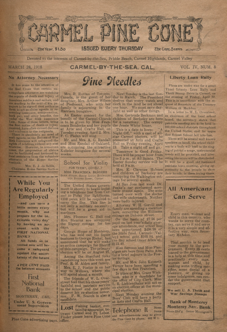front page of the                 March 28, 1918, Carmel Pine Cone