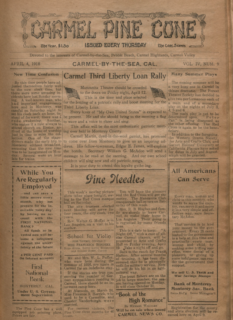 front page of the                 April 4, 1918, Carmel Pine Cone