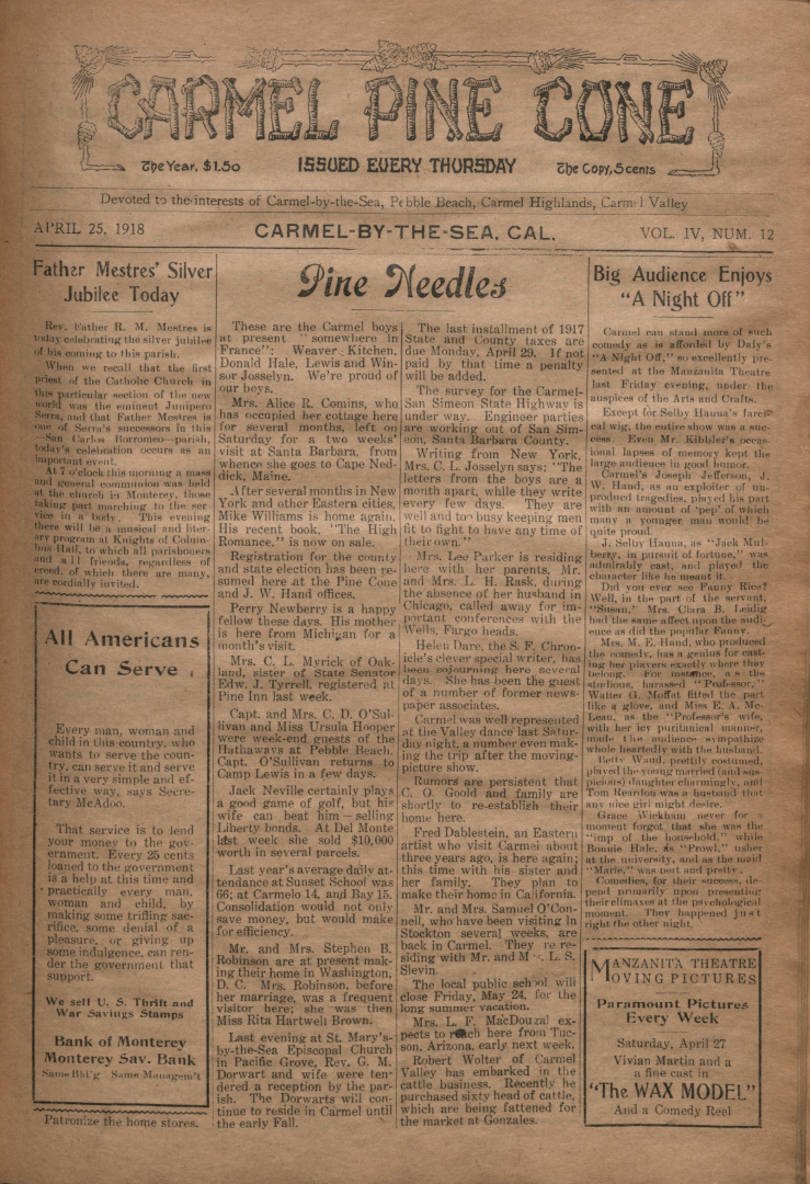 front page of the                 April 25, 1918, Carmel Pine Cone