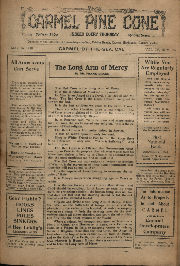 front page of the May                 16, 1918, Carmel Pine Cone