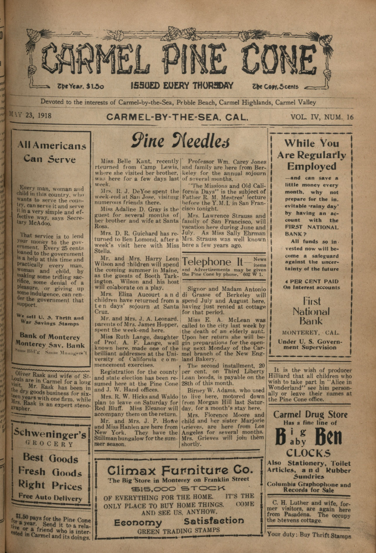 front page of the May                 23, 1918, Carmel Pine Cone