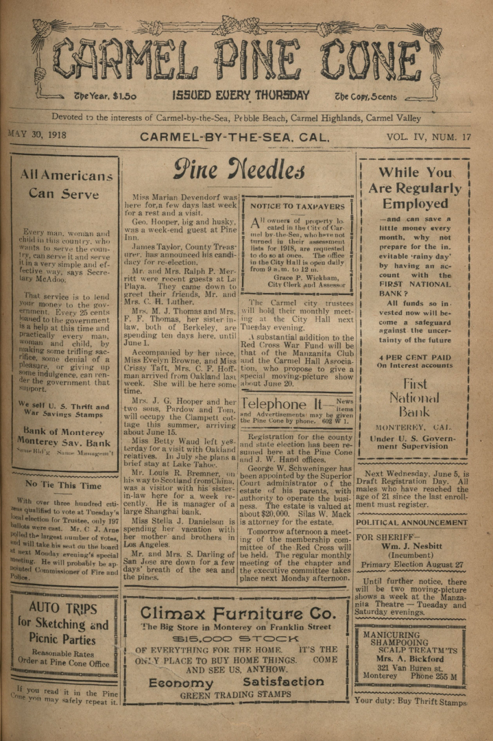 front page of the May                 30, 1918, Carmel Pine Cone