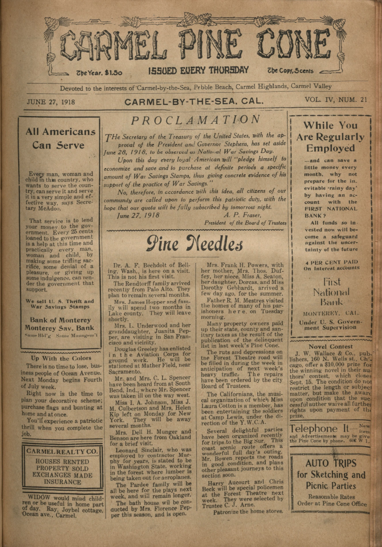 Front page of the                 June 27, 1918, Carmel Pine Cone