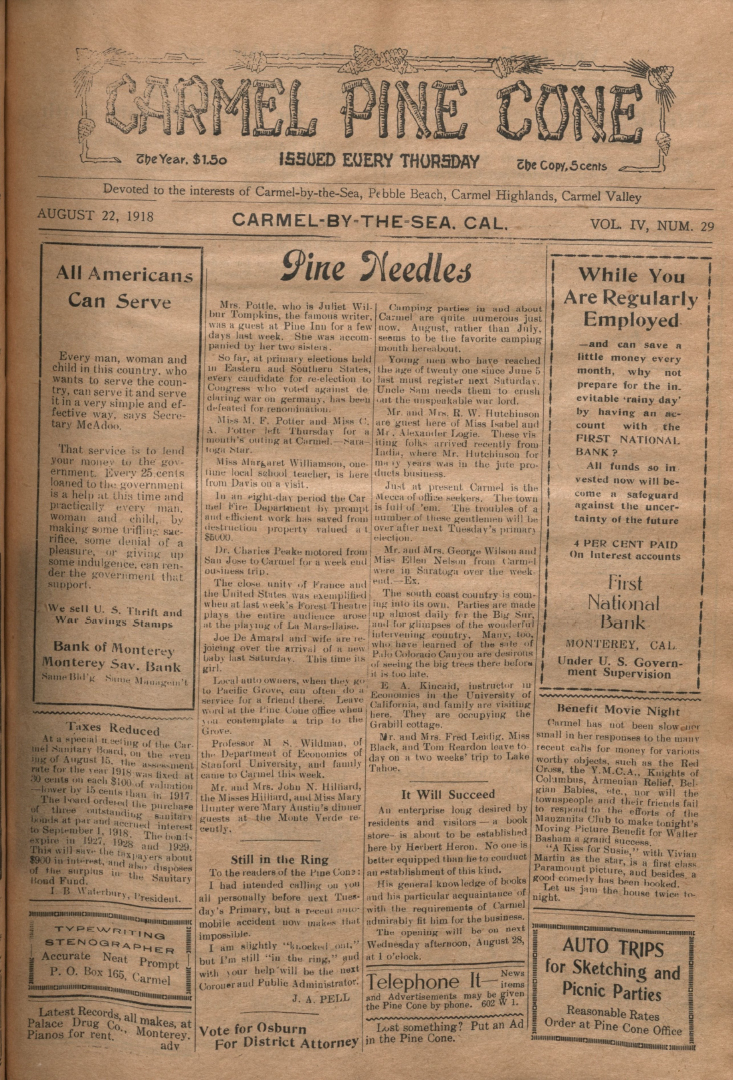 front page of the                 August 22, 1918, Carmel Pine Cone
