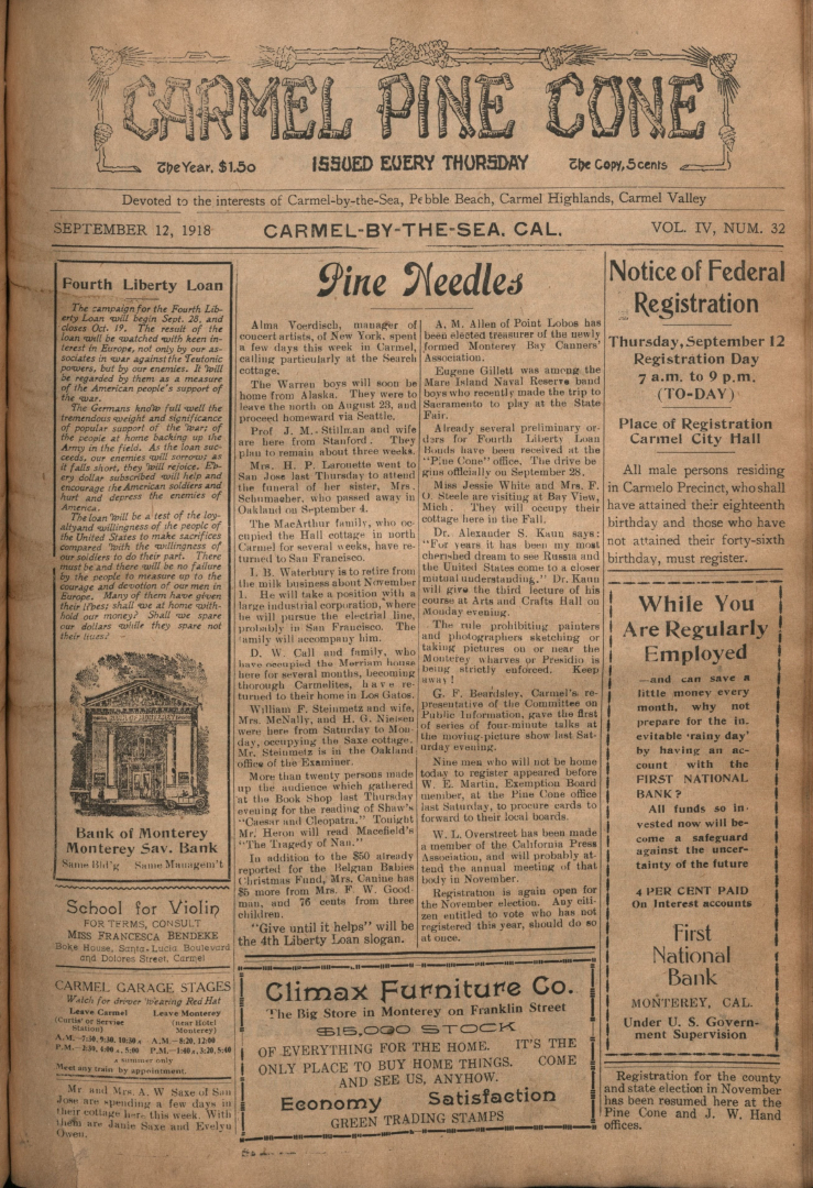 Front page of the                 September 12, 1918, Carmel Pine Cone
