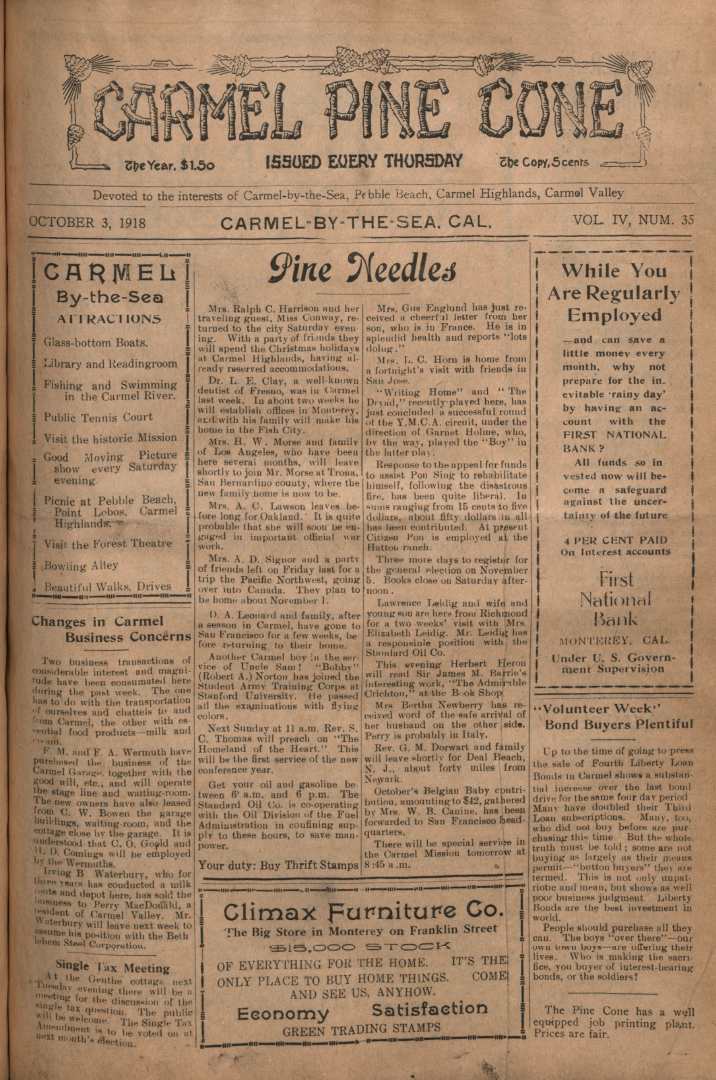 front page of the                 October 3, 1918, Carmel Pine Cone