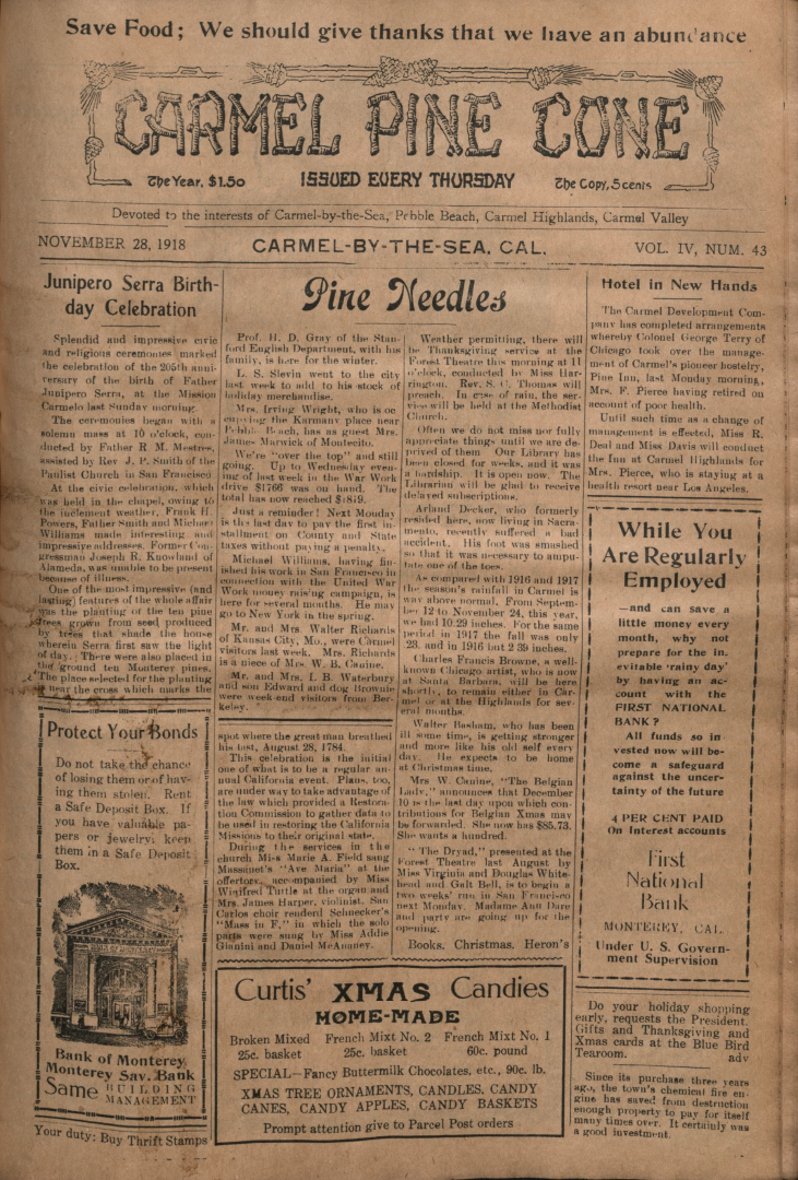 front page of the                 November 28, 1918, Carmel Pine Cone