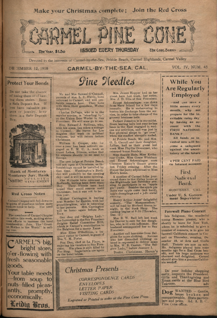 Front page of the                 December 12, 1918, Carmel Pine Cone