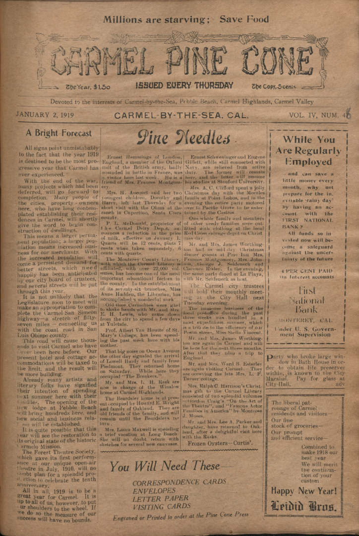 front page of the                 January 2, 1919, Carmel Pine Cone