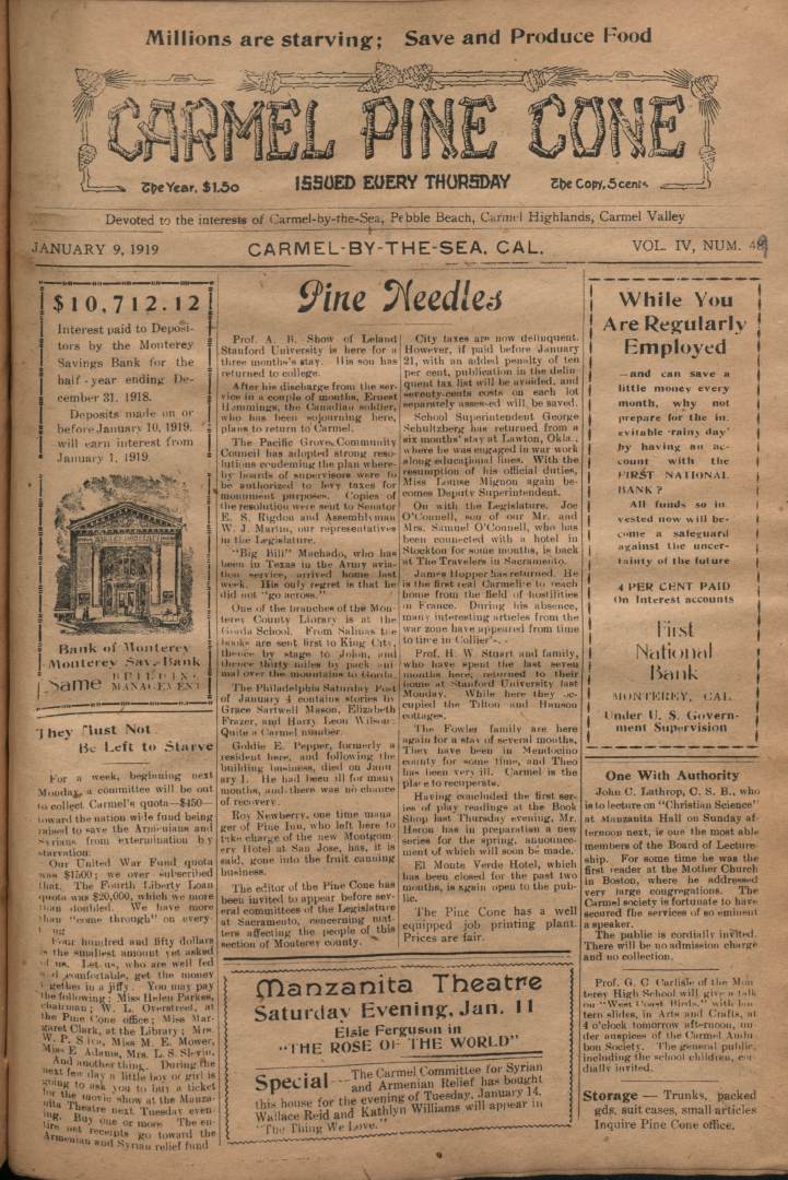 front page of the                 January 9, 1919, Carmel Pine Cone