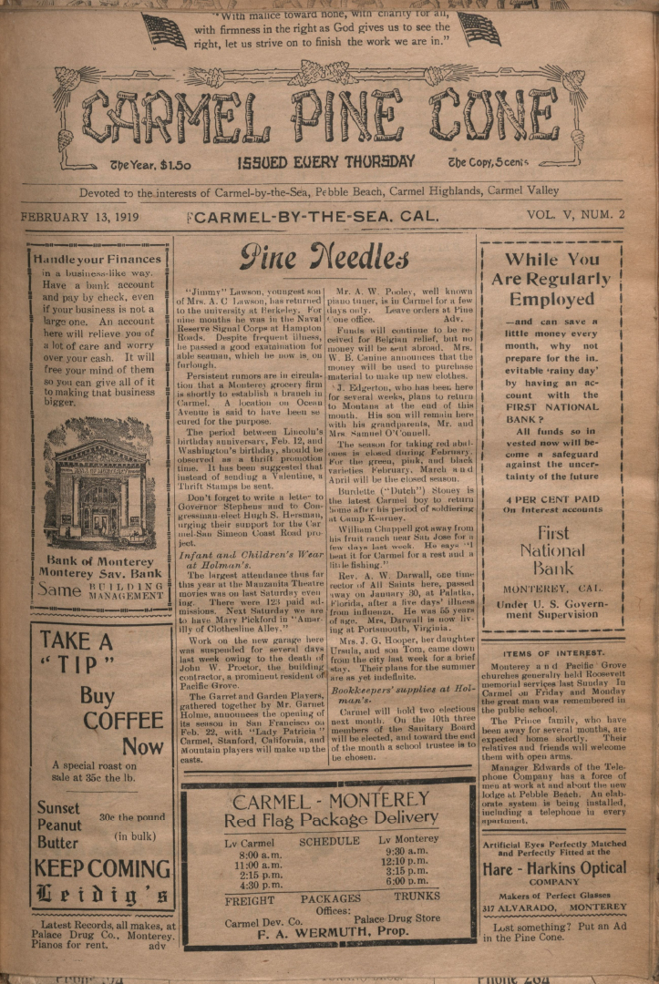 front page of the                 February 13, 1919, Carmel Pine Cone