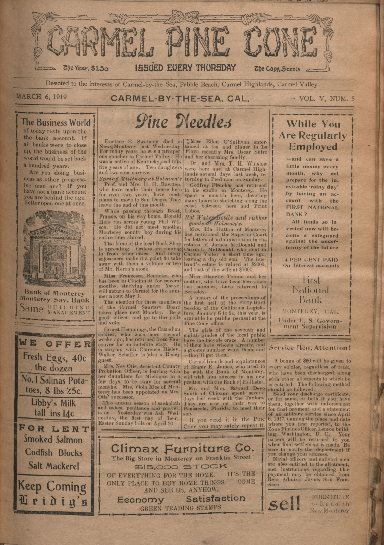 front page of the                 March 6, 1919, Carmel Pine Cone