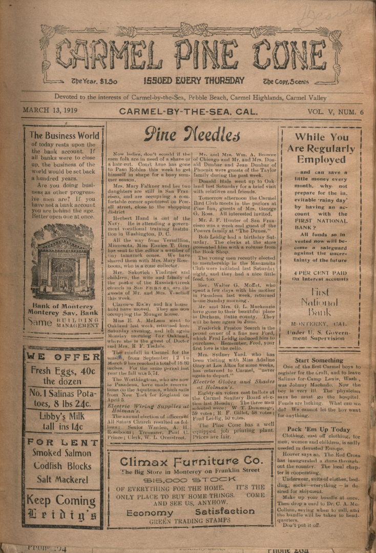 front page of the                 March 13, 1919, Carmel Pine Cone