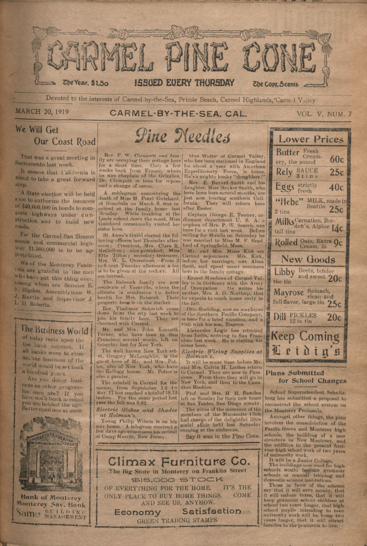front page of the                 March 20, 1919, Carmel Pine Cone