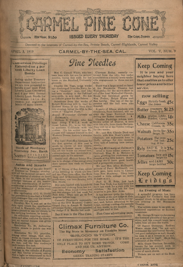 front page of the April                 3, 1919, Carmel Pine Cone