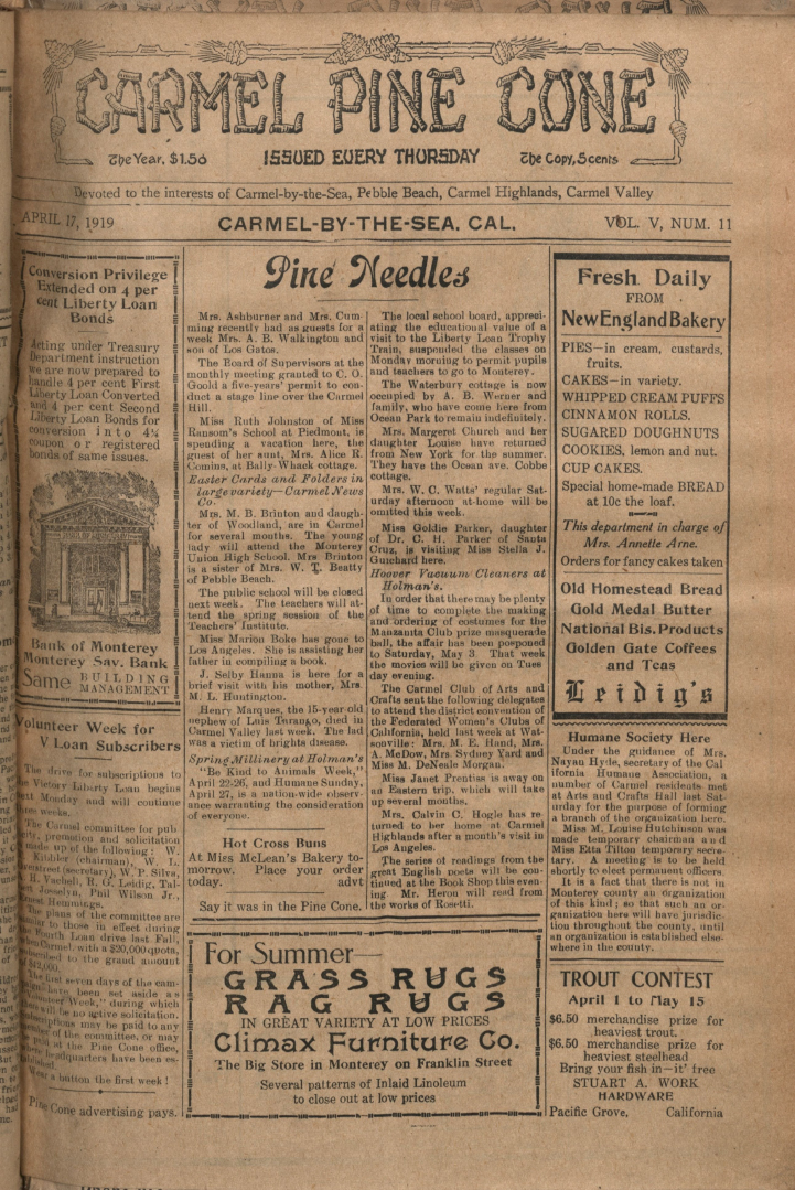 front page of the                 April 17, 1919, Carmel Pine Cone