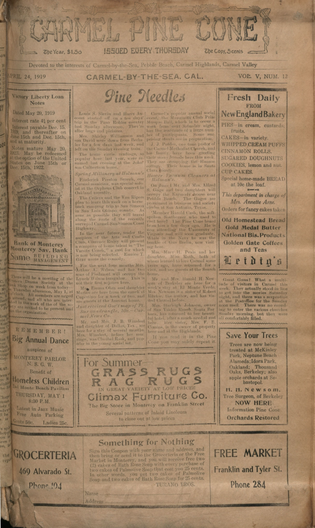 front page of the April                 24, 1919, Carmel Pine Cone