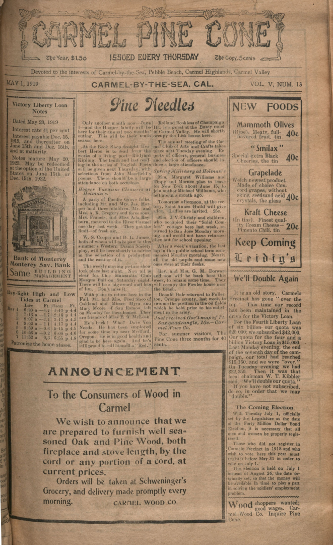 front page of the May                 1, 1919, Carmel Pine Cone