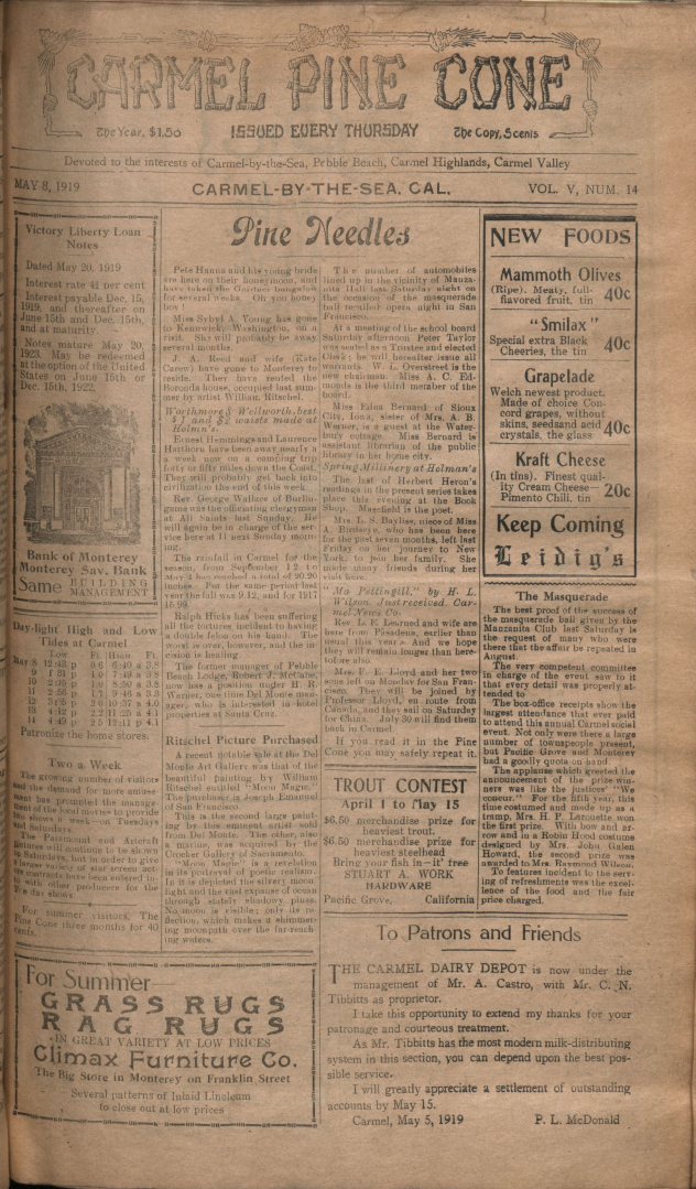 front page of the May                 8, 1919, Carmel Pine Cone