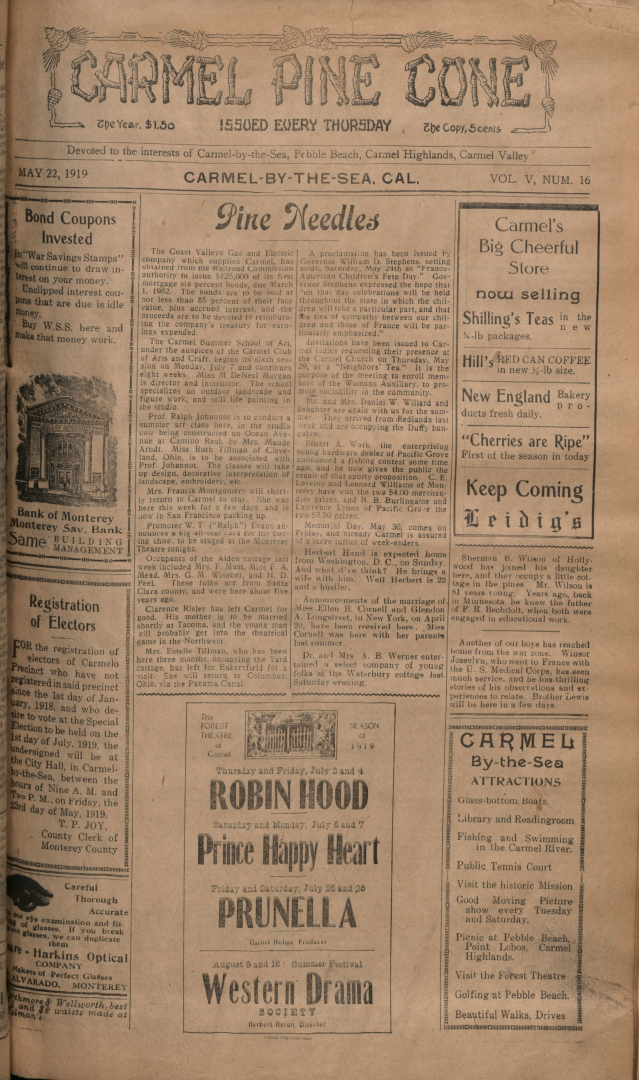 front page of the May                 22, 1919, Carmel Pine Cone