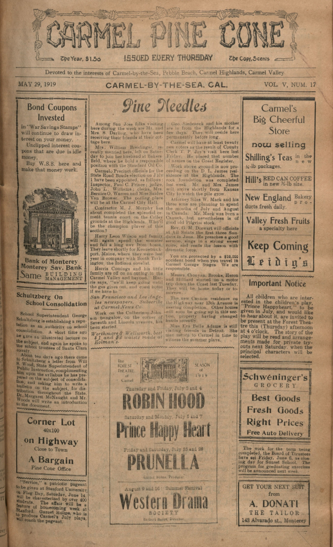 front page of the May                 29, 1919, Carmel Pine Cone