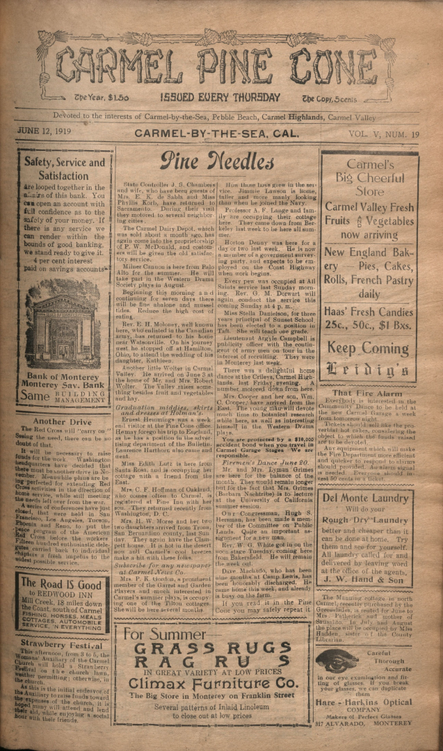 Front page of the                 June 12, 1919, Carmel Pine Cone