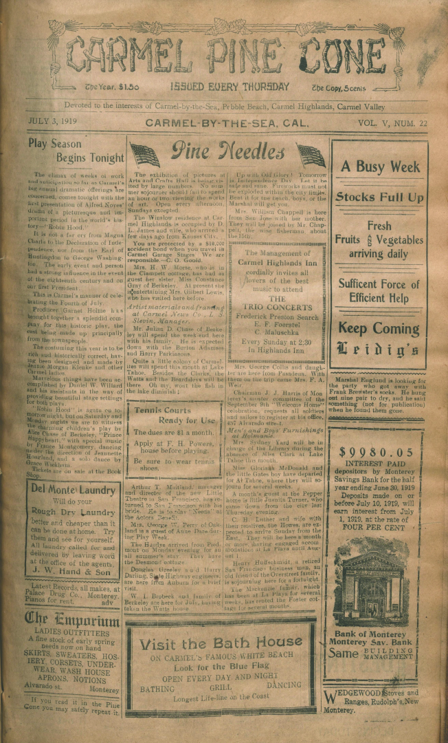 front page of the                 July 3, 1919, Carmel Pine Cone