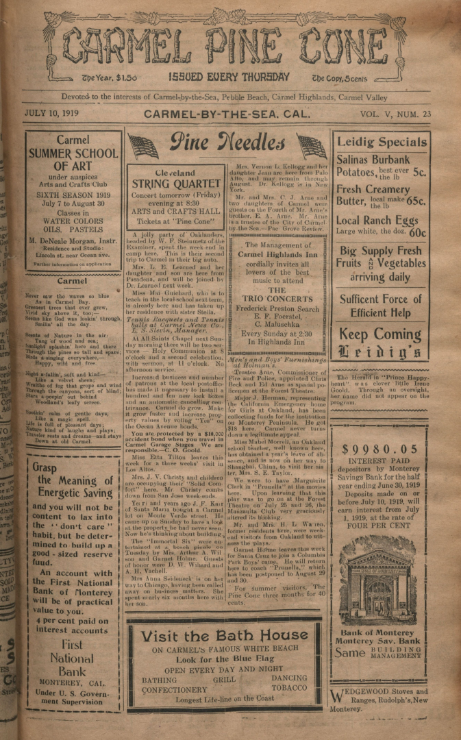 front page of the                 July 10, 1919, Carmel Pine Cone