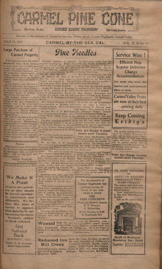 front page of the                 July 17, 1919, Carmel Pine Cone