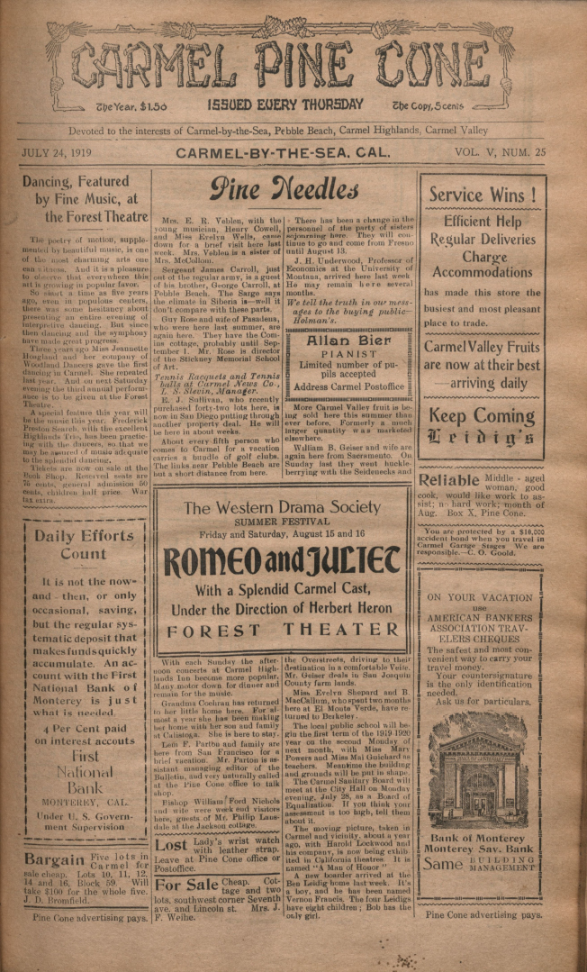 front page of the                 July 24, 1919, Carmel Pine Cone