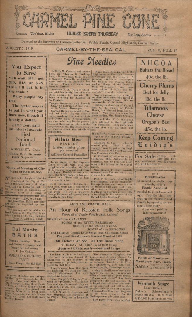 front page of the                 August7, 1919, Carmel Pine Cone