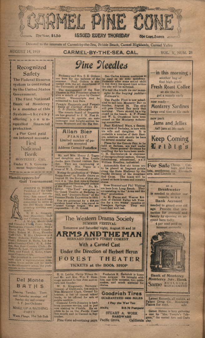 front page of the                 August 14, 1919, Carmel Pine Cone
