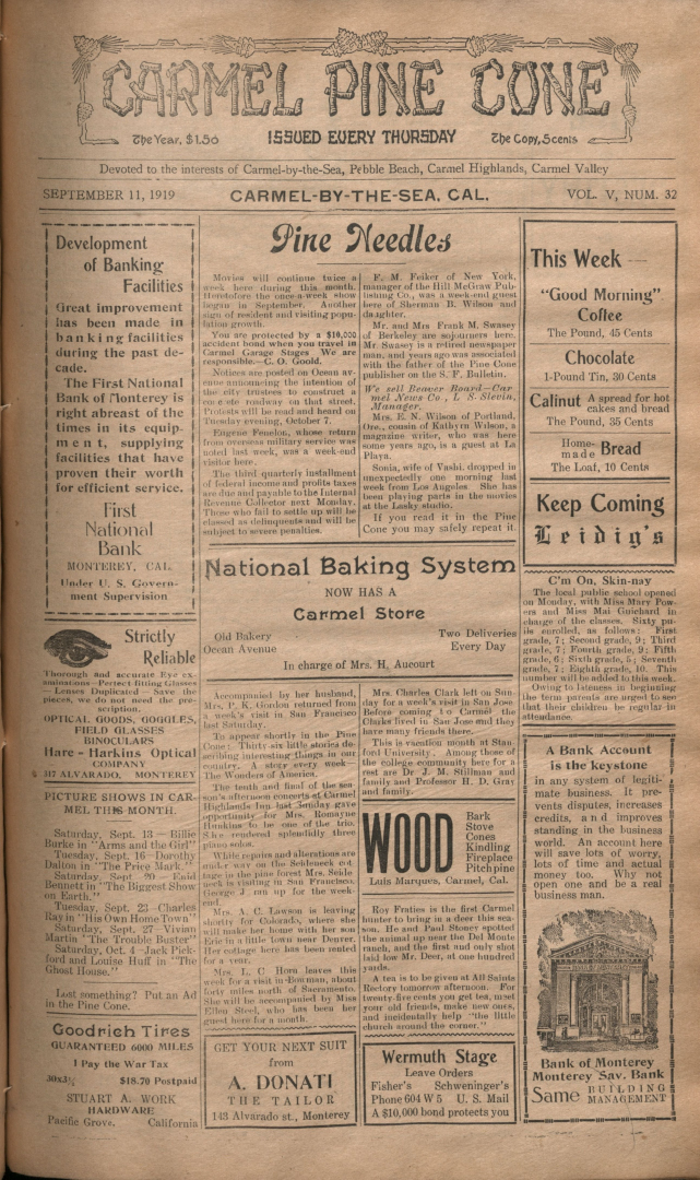 Front page of the                 September 11, 1919, Carmel Pine Cone