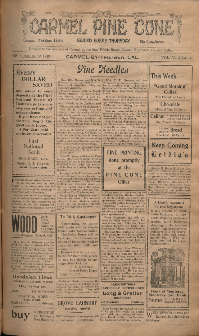 Front page of the                 September 18, 1919, Carmel Pine Cone