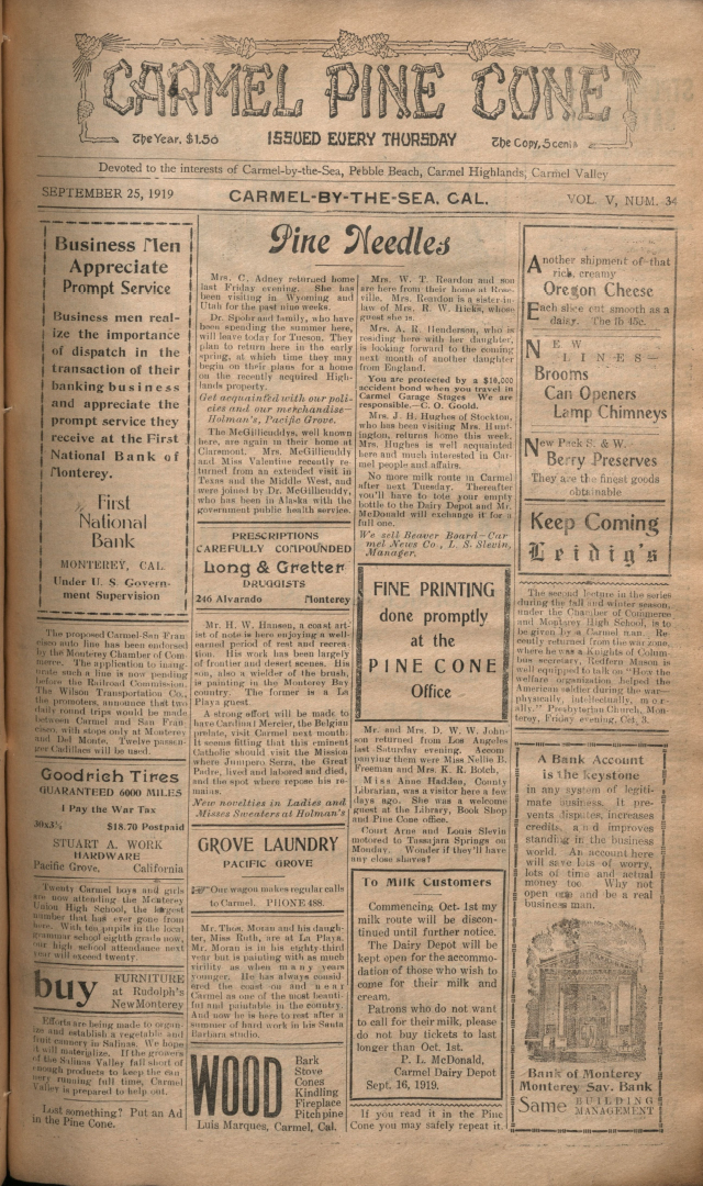 Front page of the                 September 25, 1919, Carmel Pine Cone