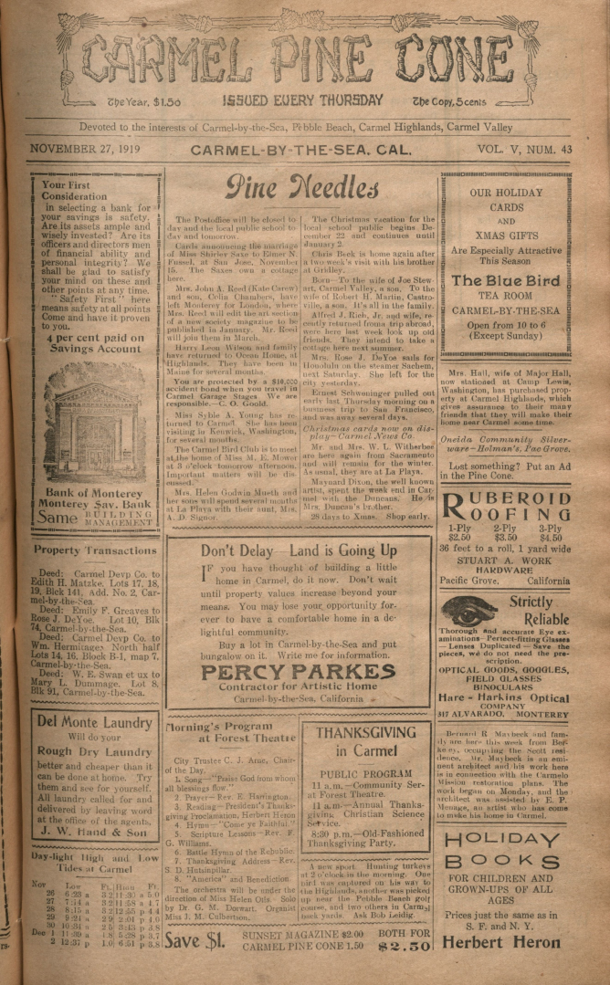 front page of the                 November 27, 1919, Carmel Pine Cone